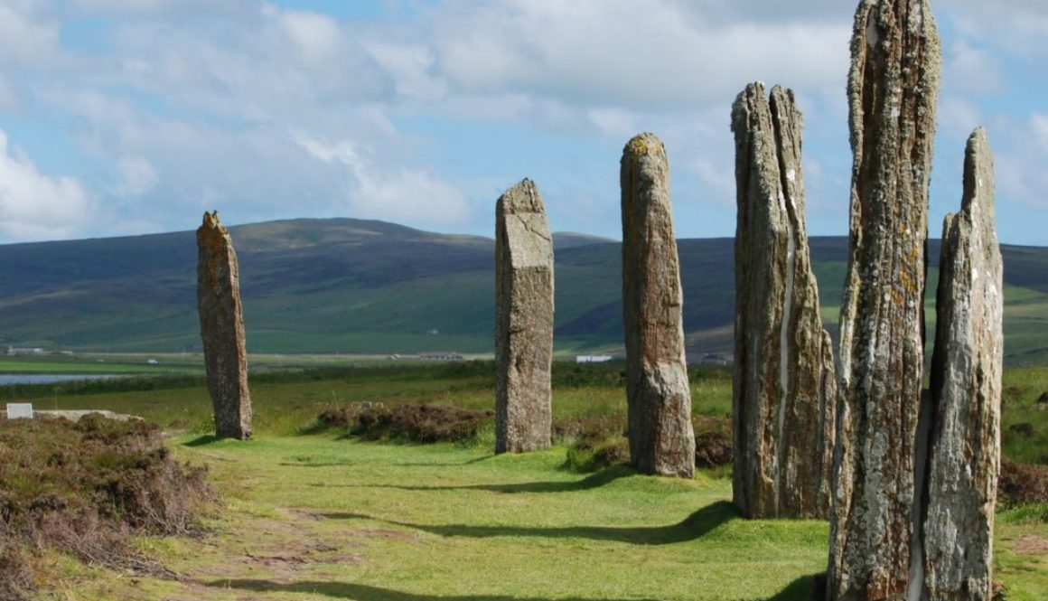 stone circle with mountains behind