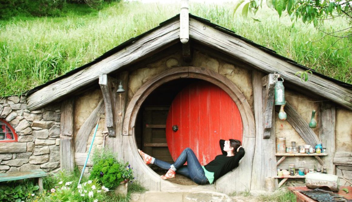 girl in the doorway of hobbit house
