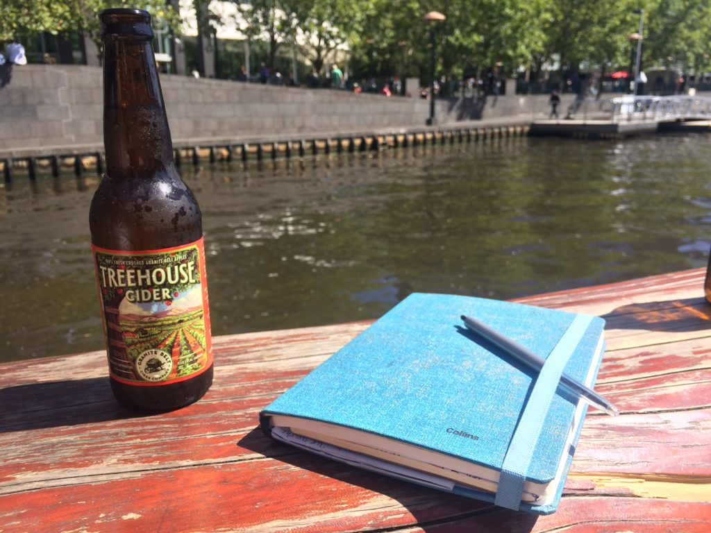 cider and journal at Ponyfish Island, Melbourne