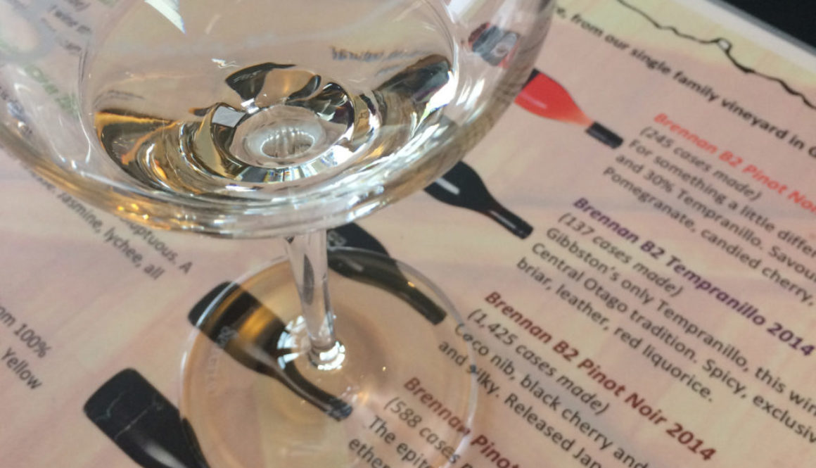 wine glass with wine list under it