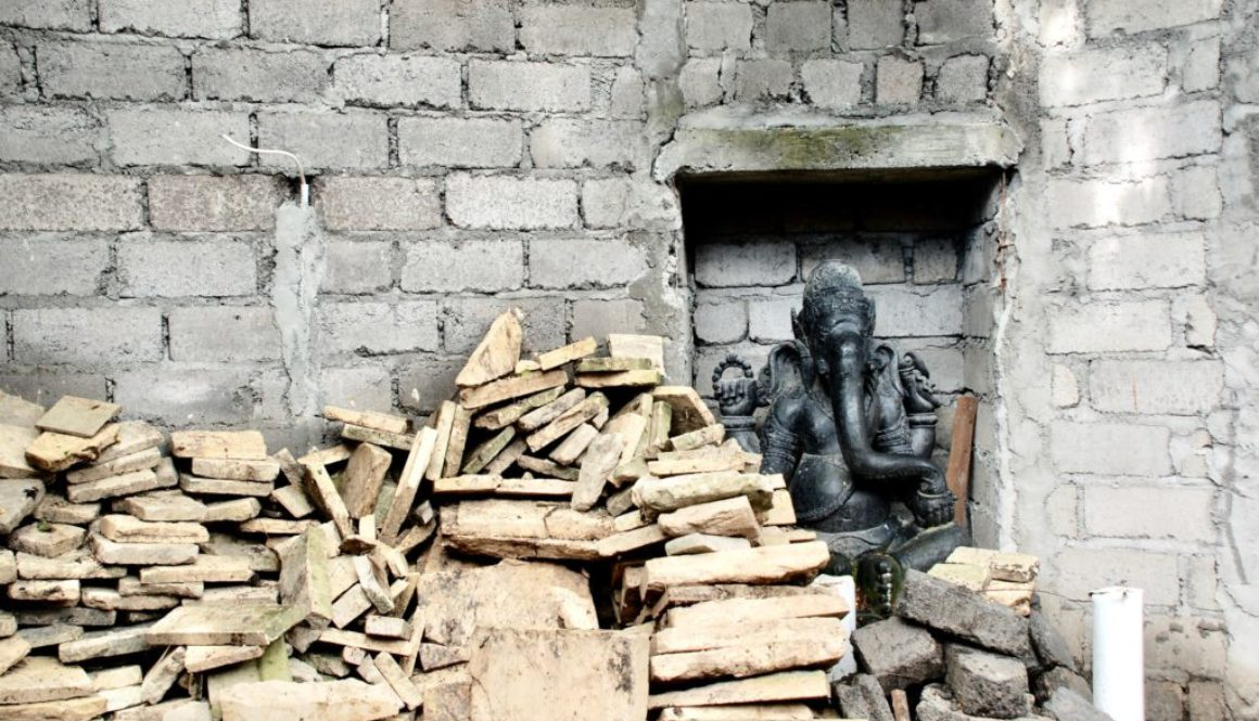pile of bricks and statue in Bali