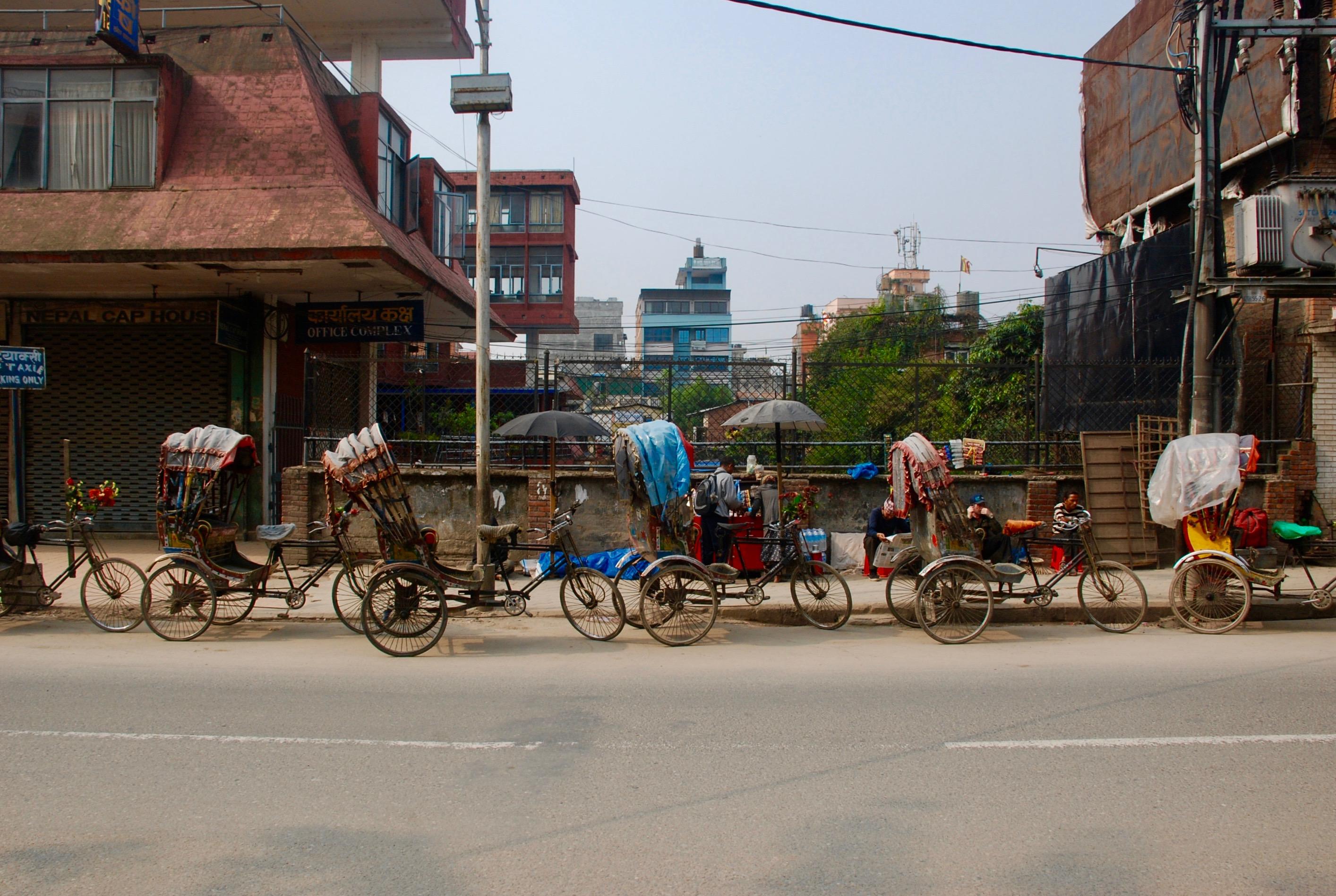 on landing in Kathmandu: rickshaws